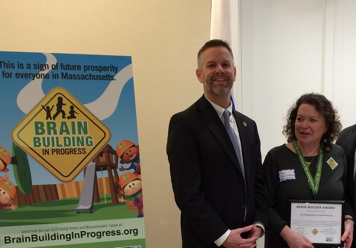 Photo of Early Education and Care Commissioner Tom Weber with Mass Literacy Champion Jane Cohen DeHaven, of the Early Childhood Alliance of Framingham