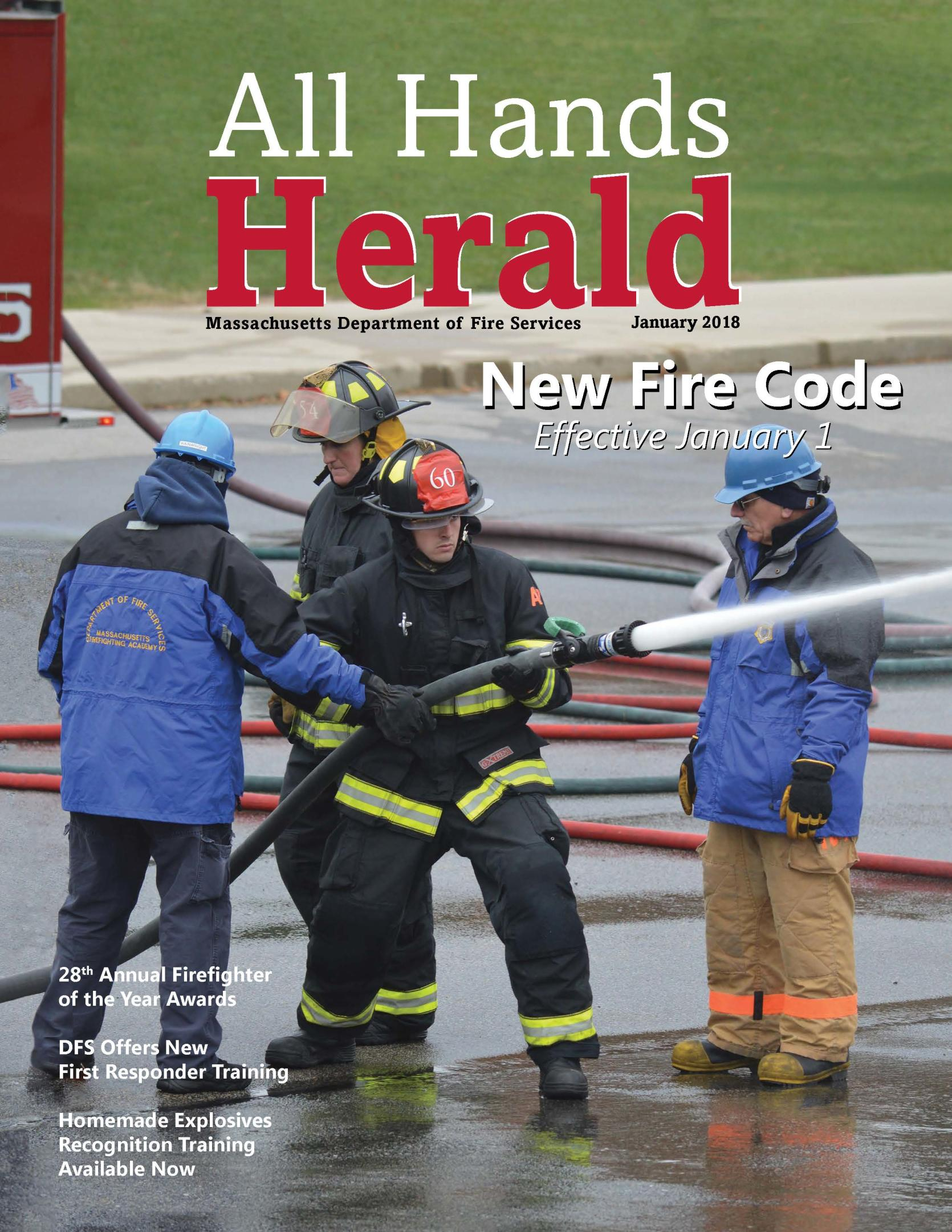 Cover All Hands Herald Jan 2018 firefighters using hoses