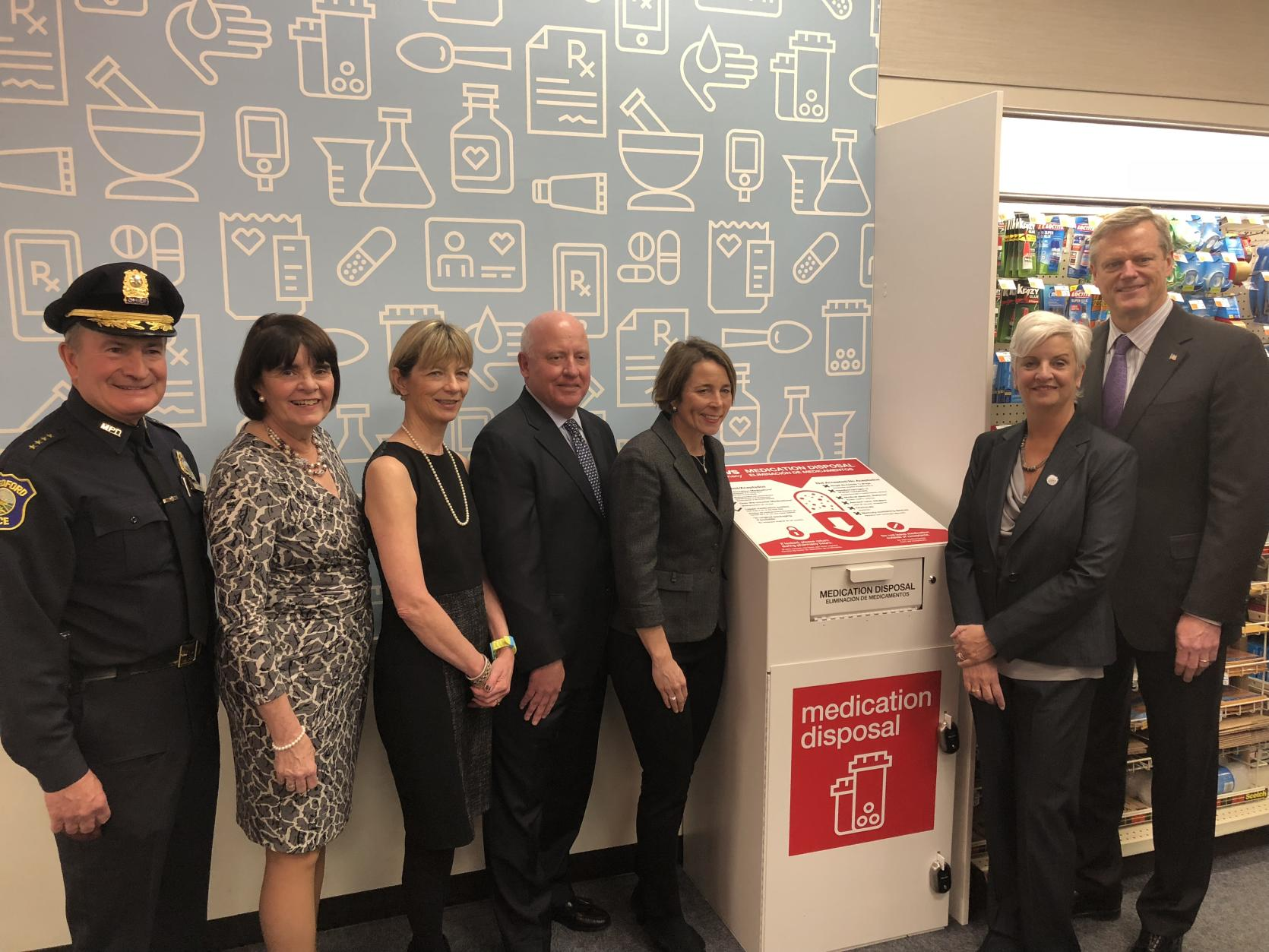Governor Baker and others in Medford announce safe medication disposal units at Massachusetts CVS pharmacies.