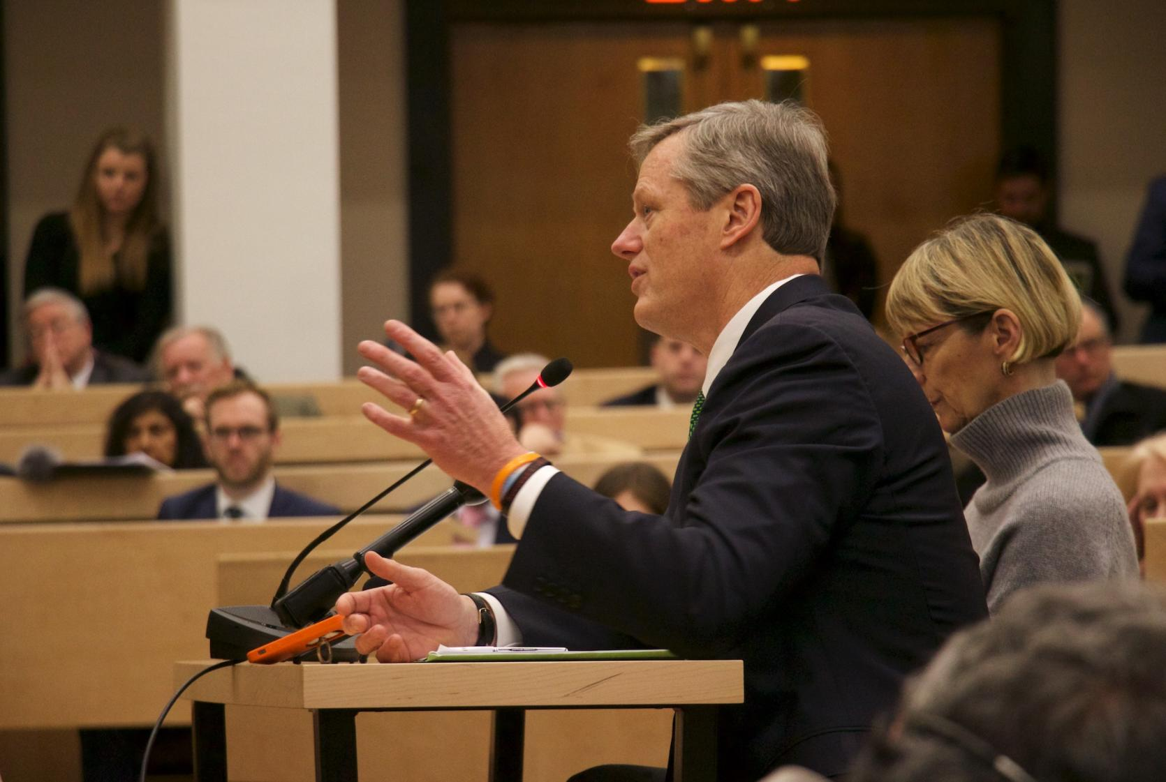 Governor Charlie Baker and Secretary Marylou Sudders testify on the administration's CARE Act.