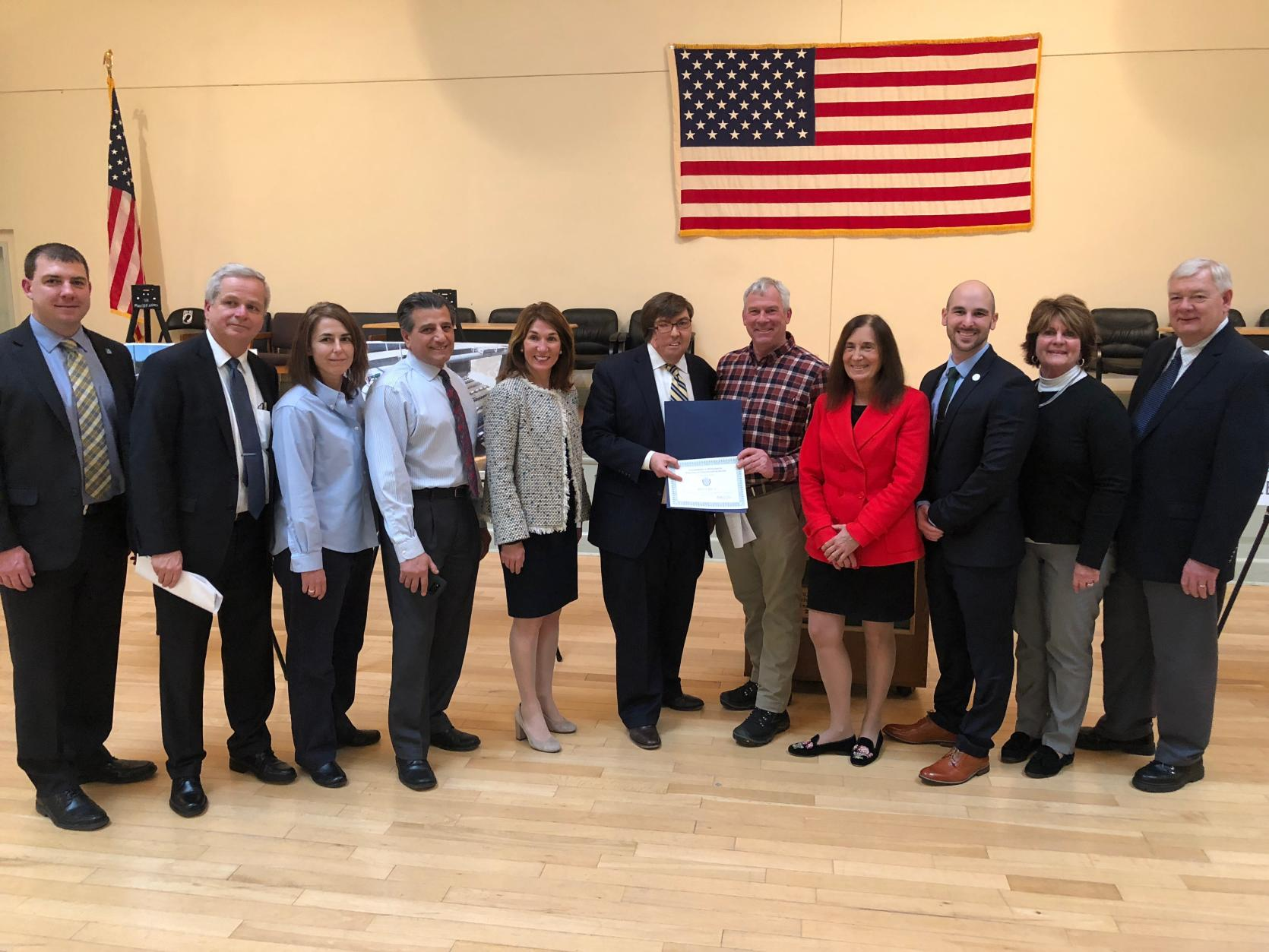 Billerica officials receive nearly $44 million in financing for four local water projects from Lt. Governor Polito and Treasurer Goldberg.