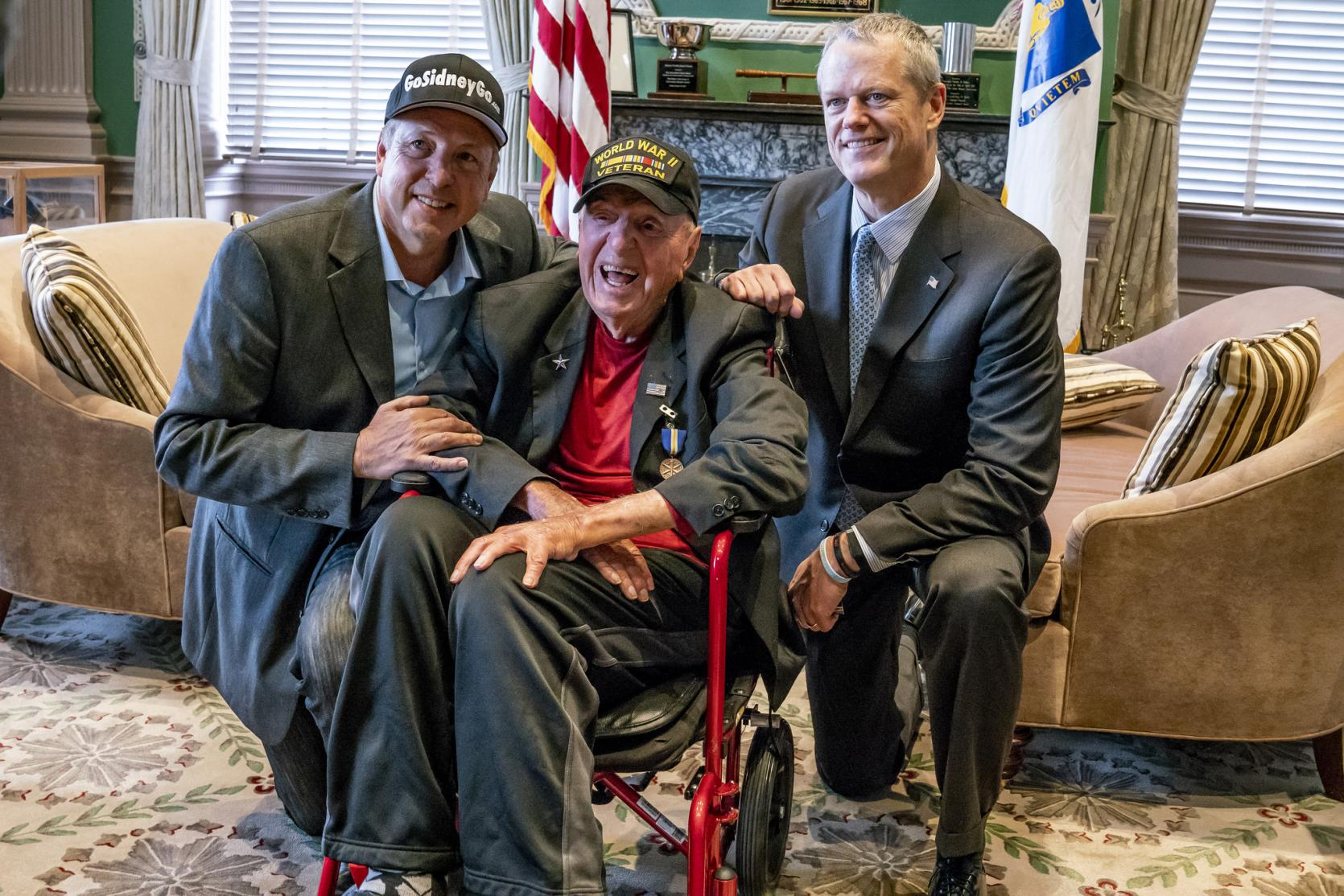 "Governor Baker meets with World War II Veteran Sidney Walton and his son Paul Walton as part of the ""Go Sidney Go"" National No Regrets Tour across the United States."