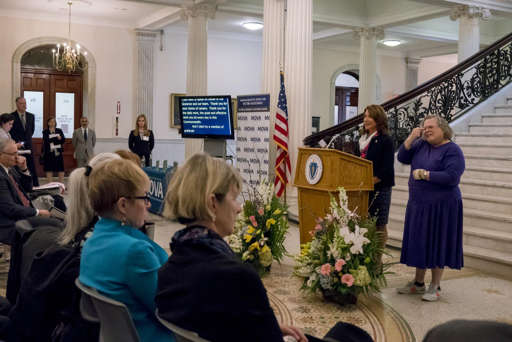Lt. Governor Polito announces Community Impact Discussions during MOVA's Victim Rights Month Awards Ceremony.