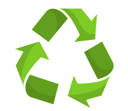 Three green arrows making a triangle to represent recycling.