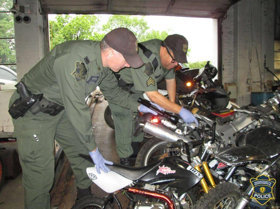 Environmental Police Officers checking autobikes