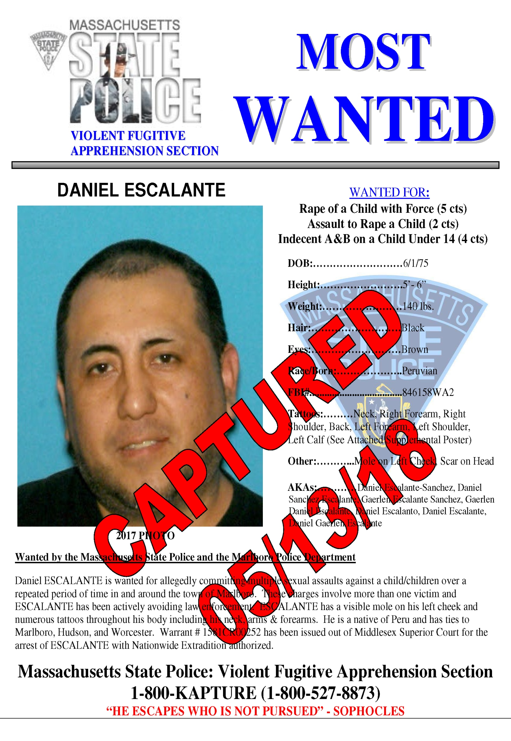 Captured Poster of Daniel Escalante Arrest