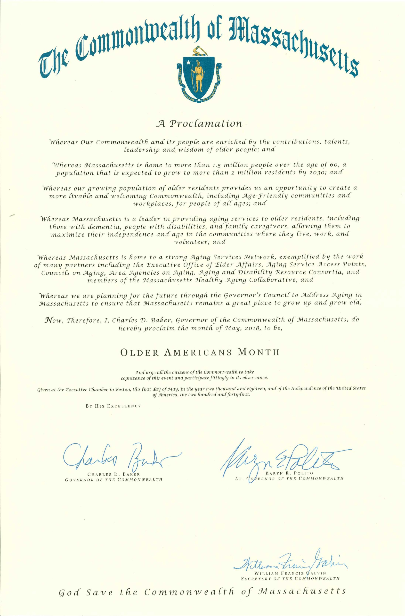 Image of Governor Baker's Proclamation for Older Americans Month, May 2018
