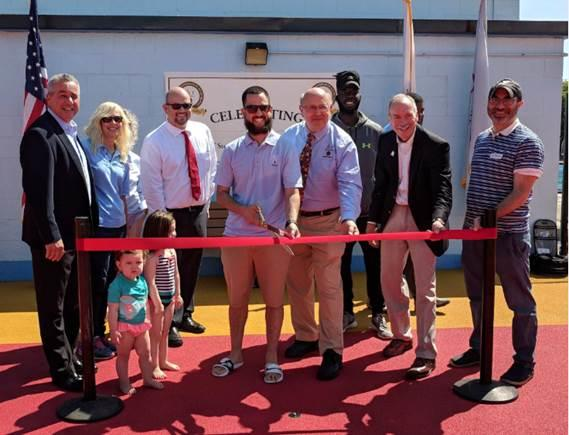 Massachusetts Department of Conservation and Recreation Commissioner Leo Roy joined with state and local officials to celebrate the opening of the new Allied Veterans Memorial spray deck in the City of Everett
