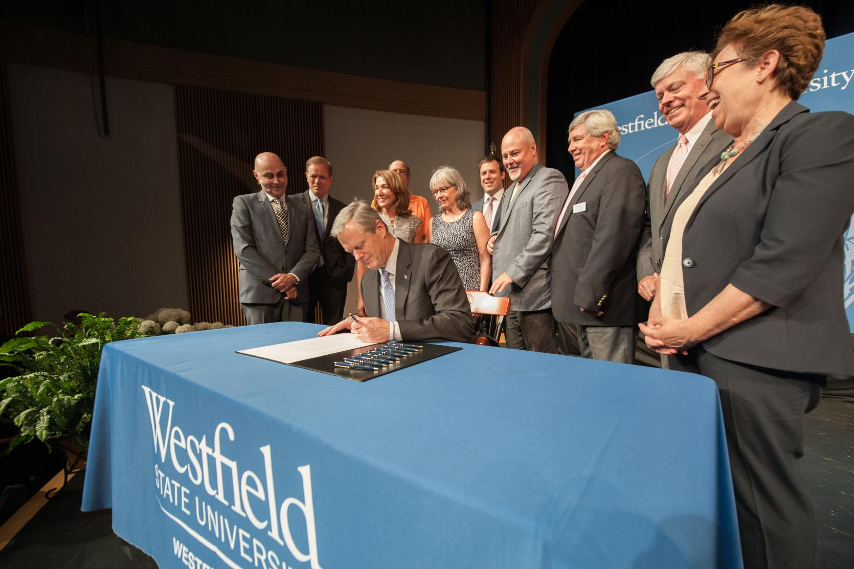 Governor Baker visits Westfield State University for a ceremonial bill signing for H.4549- An Act for capital repairs and improvements for the Commonwealth which includes about $20 millon for the renovation of Parenzo Hall on campus.