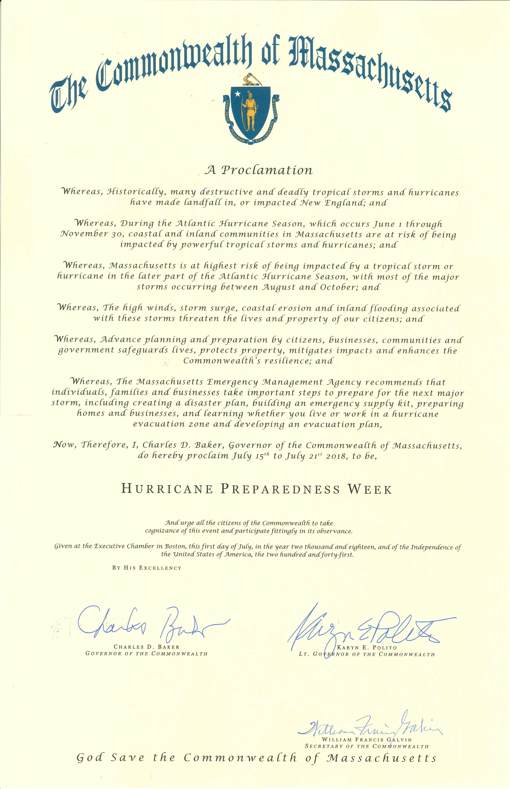 Hurricane Preparedness Proclamation