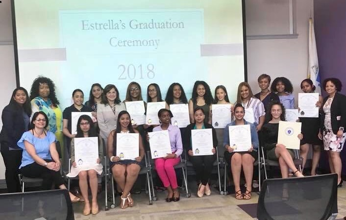 State Rep. Juana Matias, Former US Attorney General Carmen Ortiz, Ms. Stacy Seward, and Probation Officer Lidia Maldonado (right corner) joined by some of the Estrella 2018 graduates at the reception held at Northern Essex Community College.