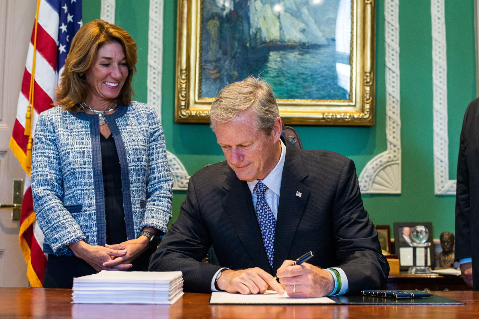 Governor Baker and Lt. Governor Polito during budget signing.