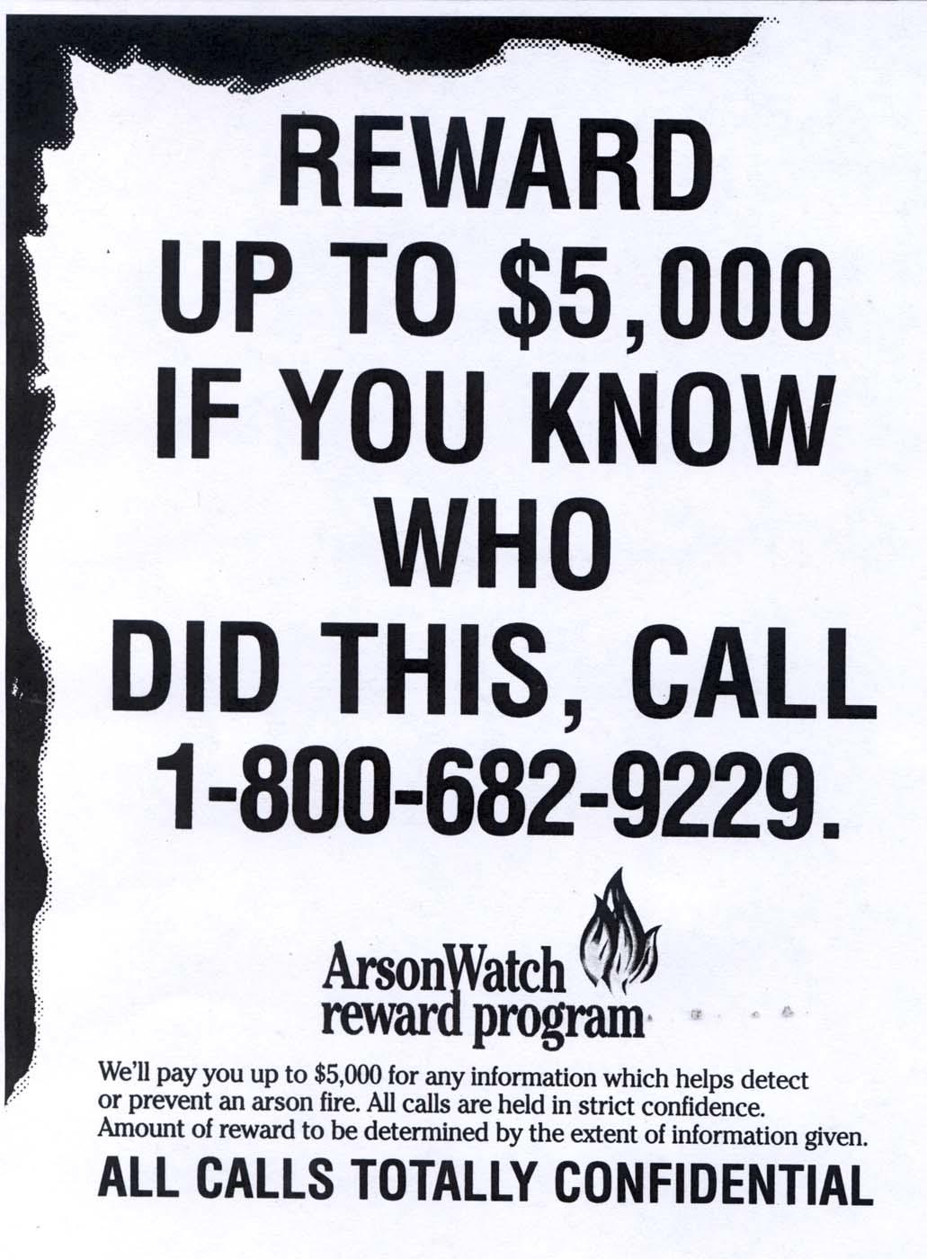 Arson Reward poster