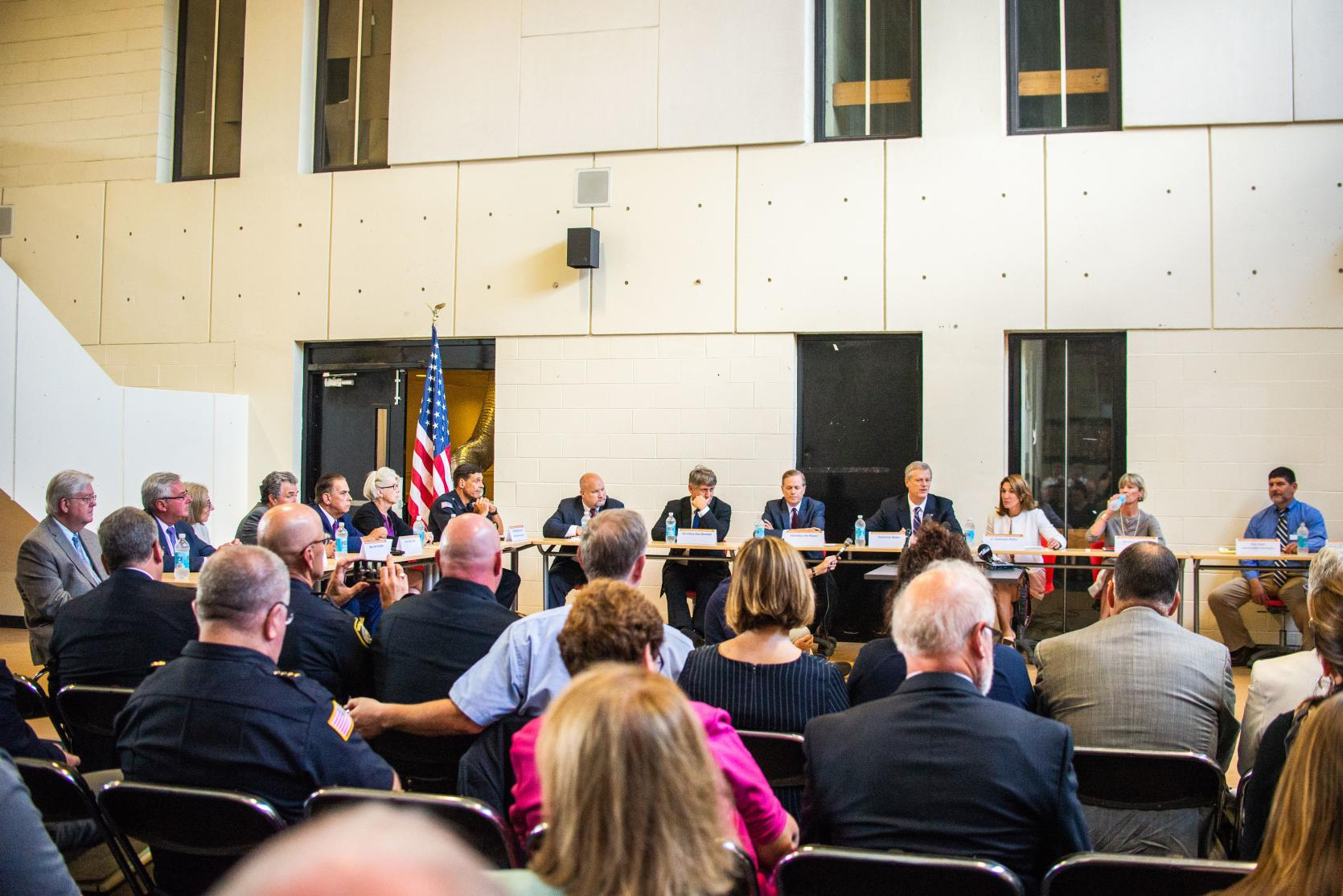 Governor Baker and Lieutenant Governor Polito hold roundtable about school safety and security.