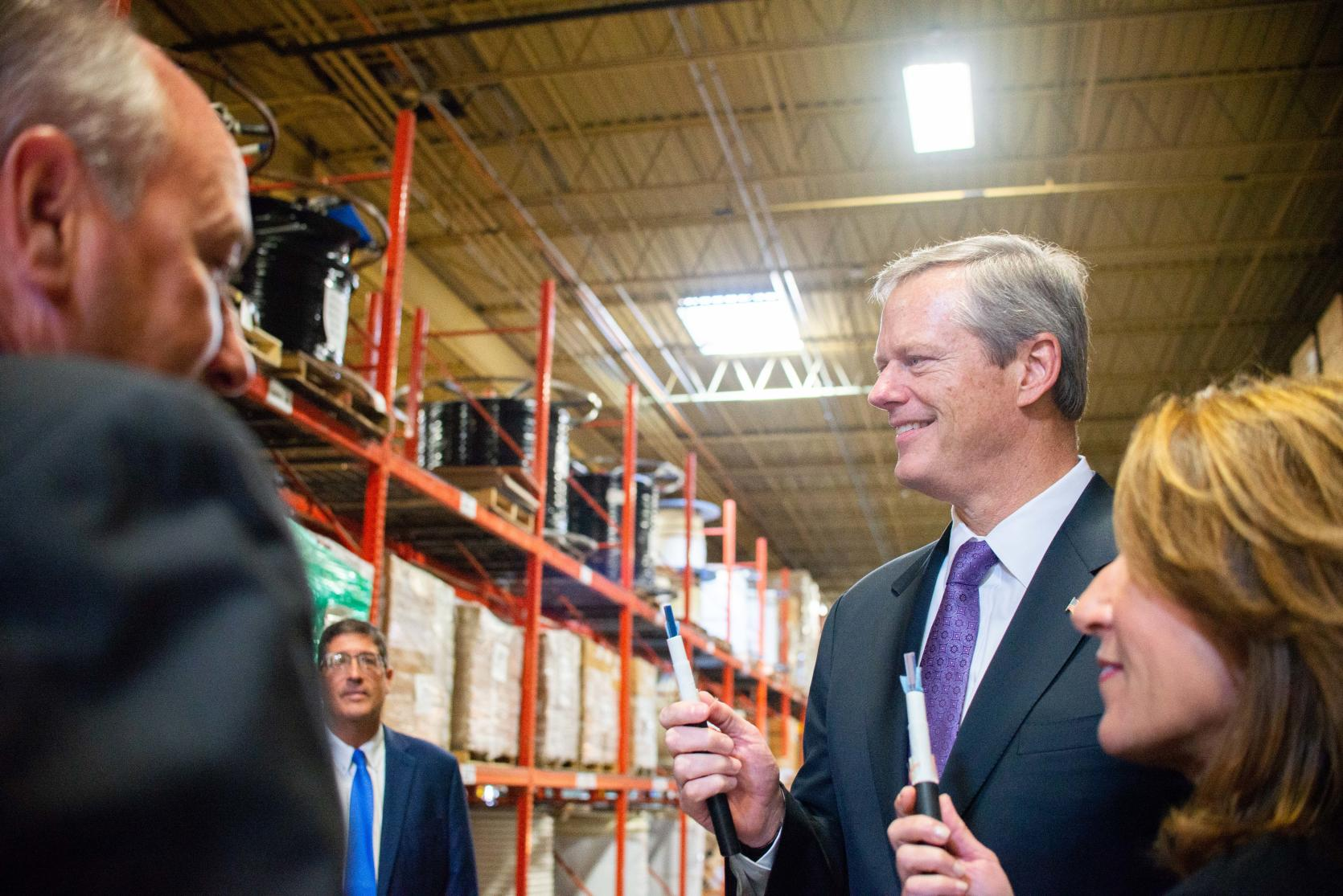 Governor Baker and Lt. Governor Polito at Westfield Gas + Electric (WG+E).
