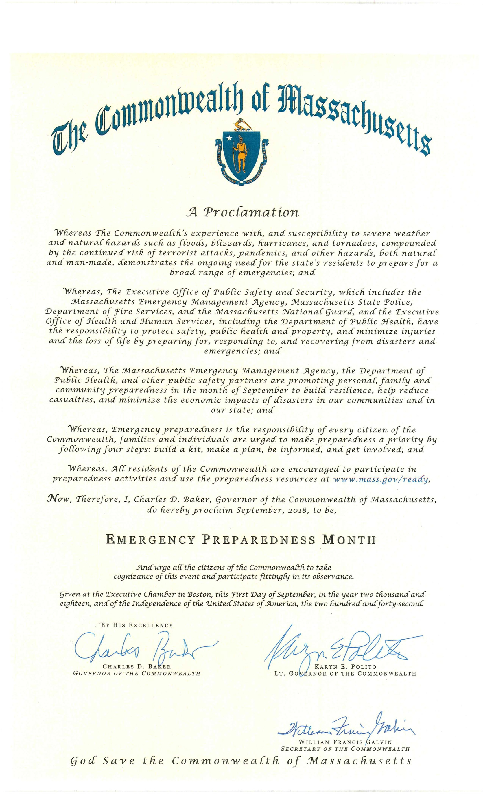 Proclamation from Governor Baker declaring September 2018 to be Emergency Preparedness Month