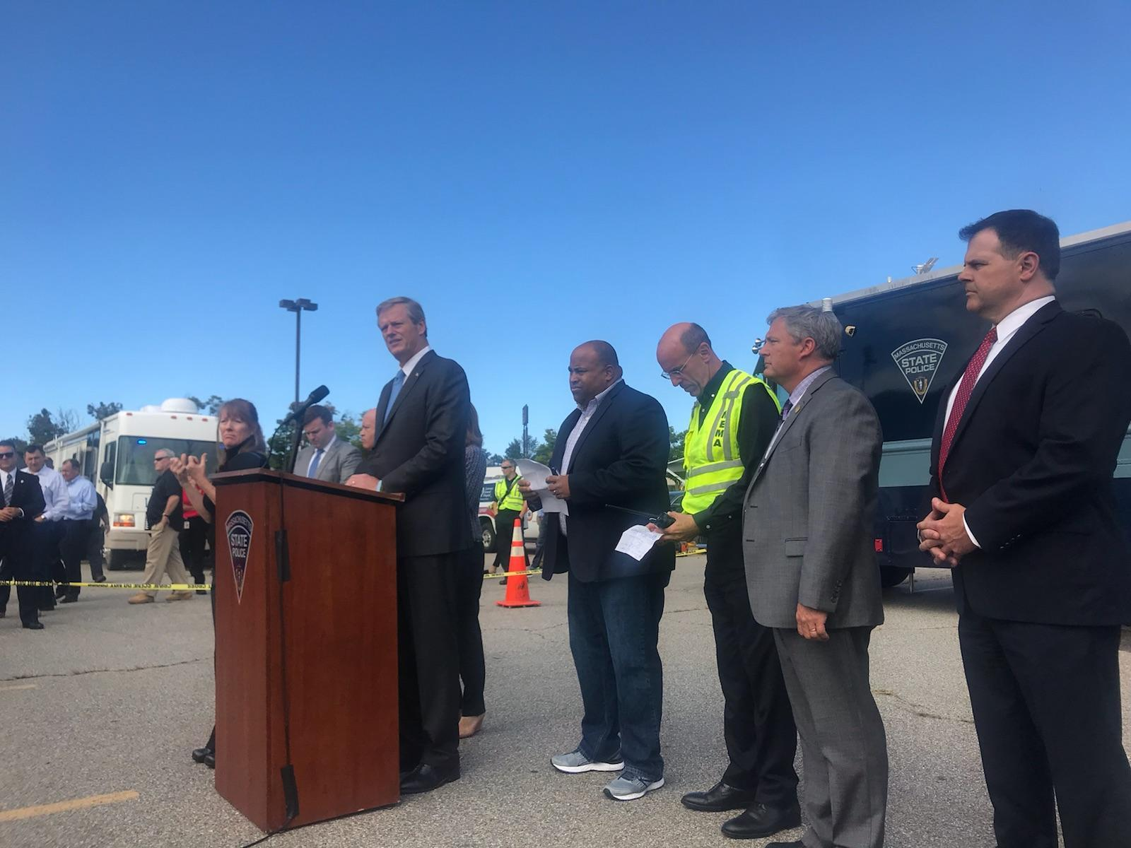 Governor Baker in Lawrence with Mayor Dan Rivera, local town officials, and MEMA.
