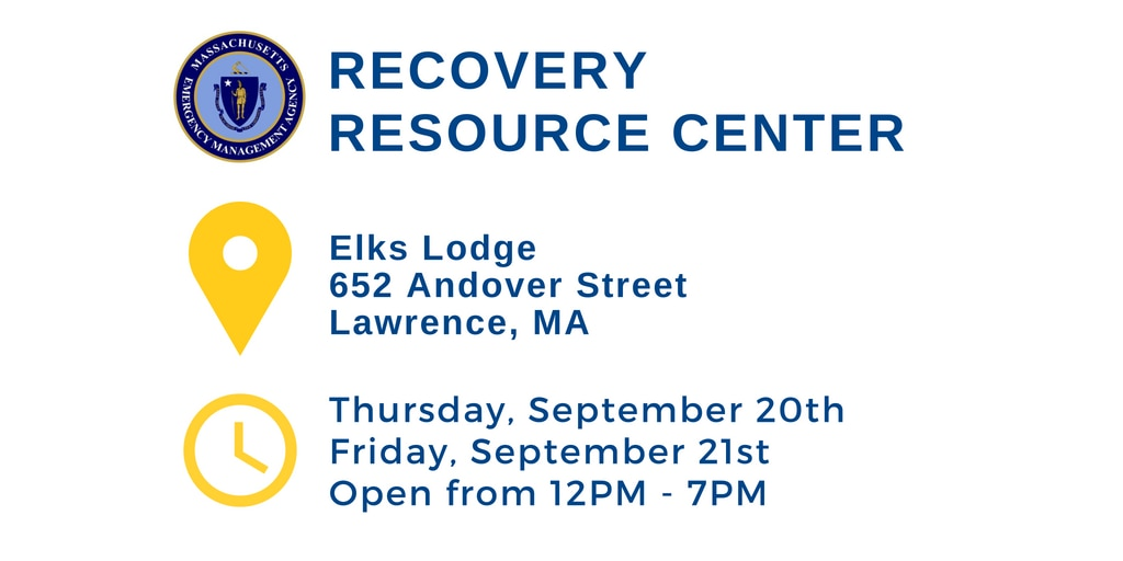 Recovery Resource Center. Elks Lodge, 652 Andover Street, Lawrence, MA. Thursday September 20th and Friday September 21st. Open from 12PM - 7PM.