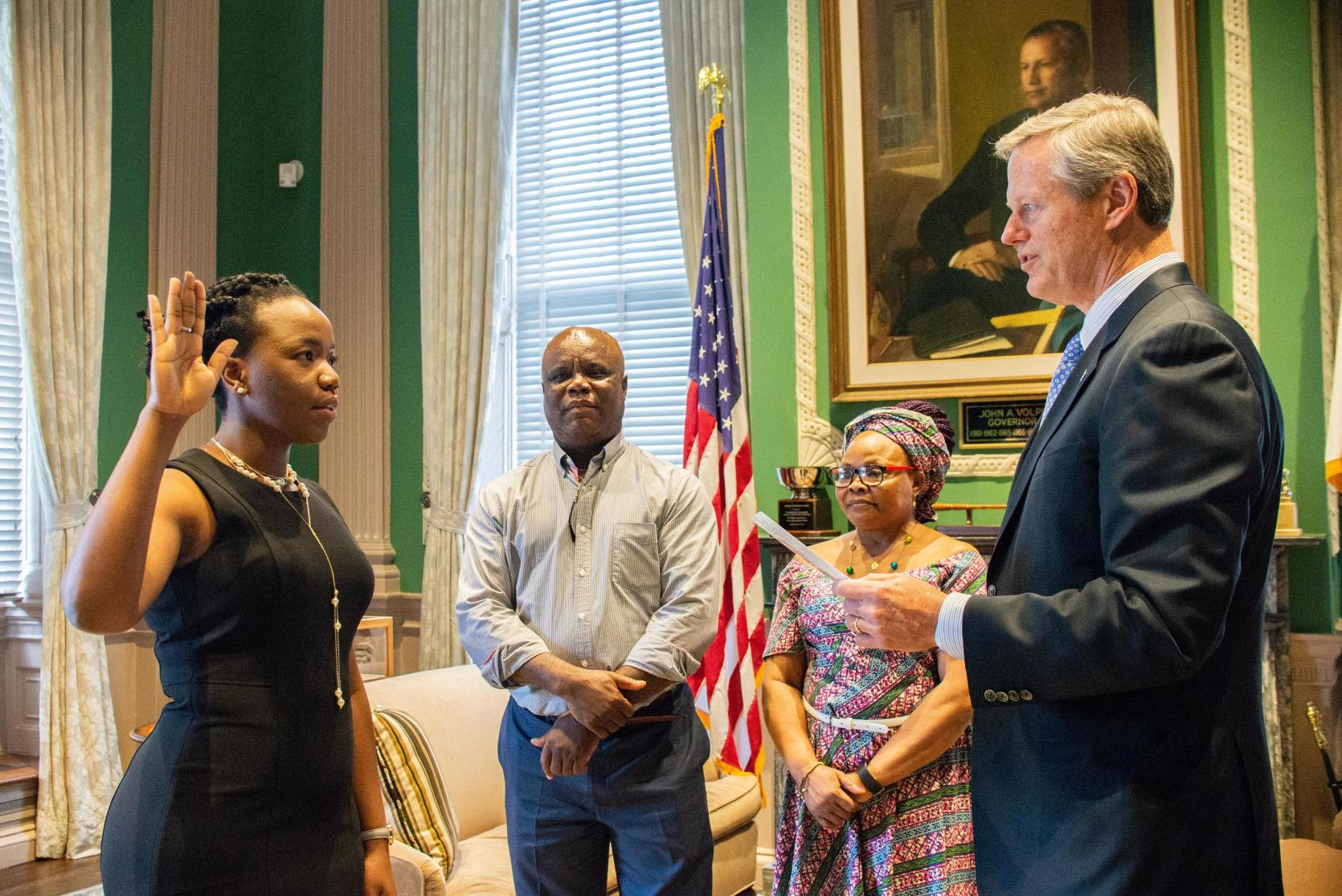 "Governor Baker swearing in Dr. Noreen ""Chioma"" Okwara."