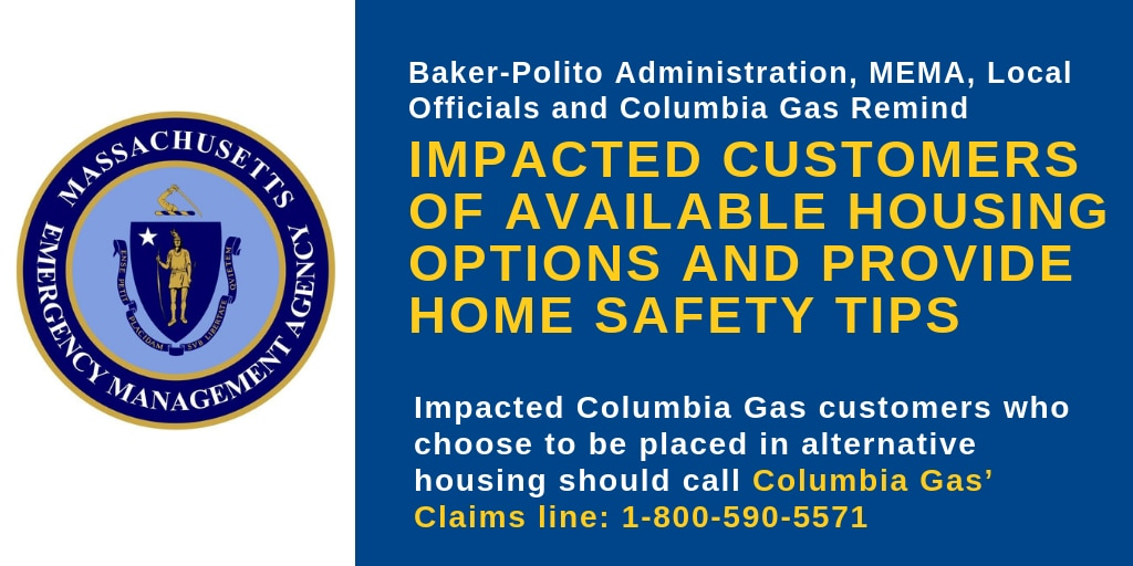 Impacted Columbia Gas customers who choose to be placed in alternative housing should call Columbia Gas' Claims line: 1-800-590-5571