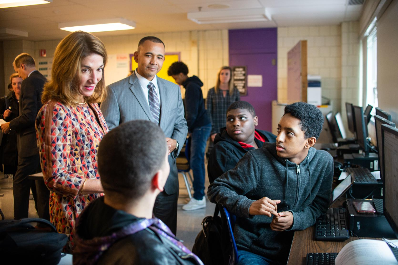 Lt. Governor Polito with Charlestown High School Principal Will Thomas and Early College students.