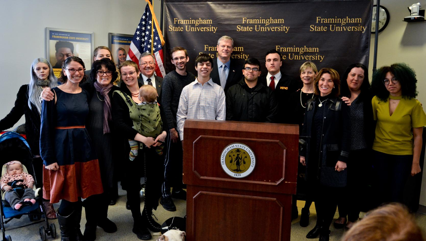 Governor Baker at Framingham State University highlight plan to end youth homelessness.