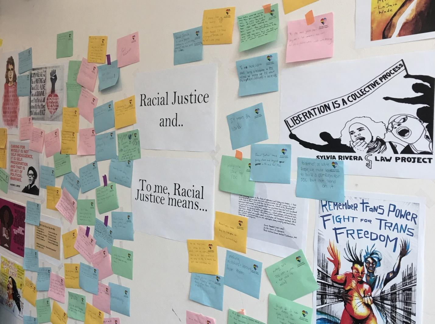 "Notes with prompts: ""Racial Justice and..."" ""To me, Racial Justice Means..."""
