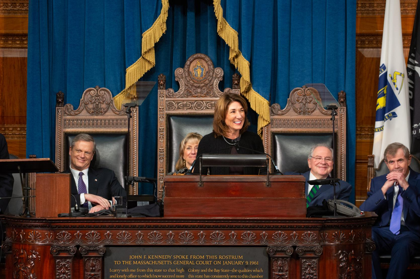 Lt. Governor Polito delivers her Inaugural address in the House Chamber.