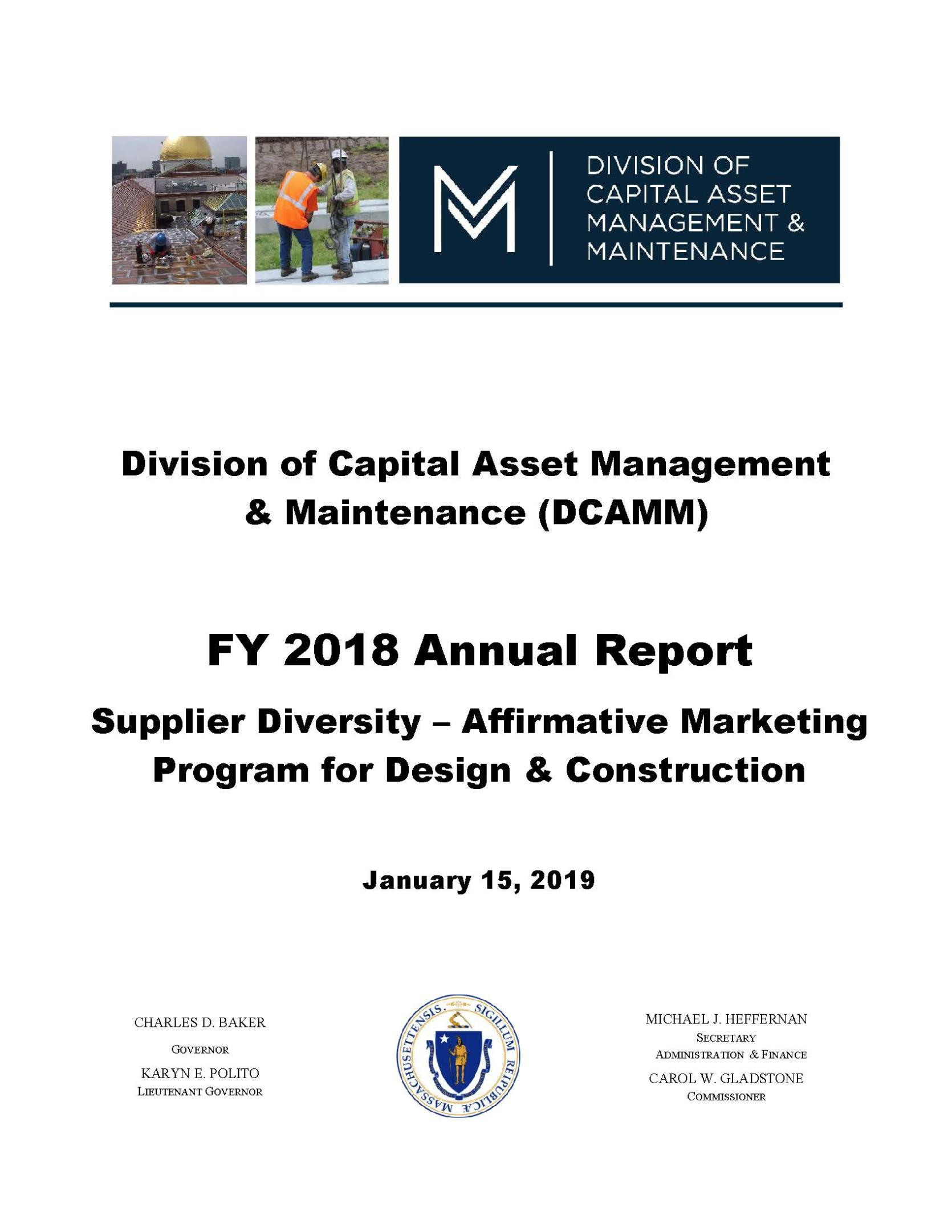 Report Cover Page The Dcamm Supplier Diversity Affirmative Marketing Program For Design Construction 2018 Annual