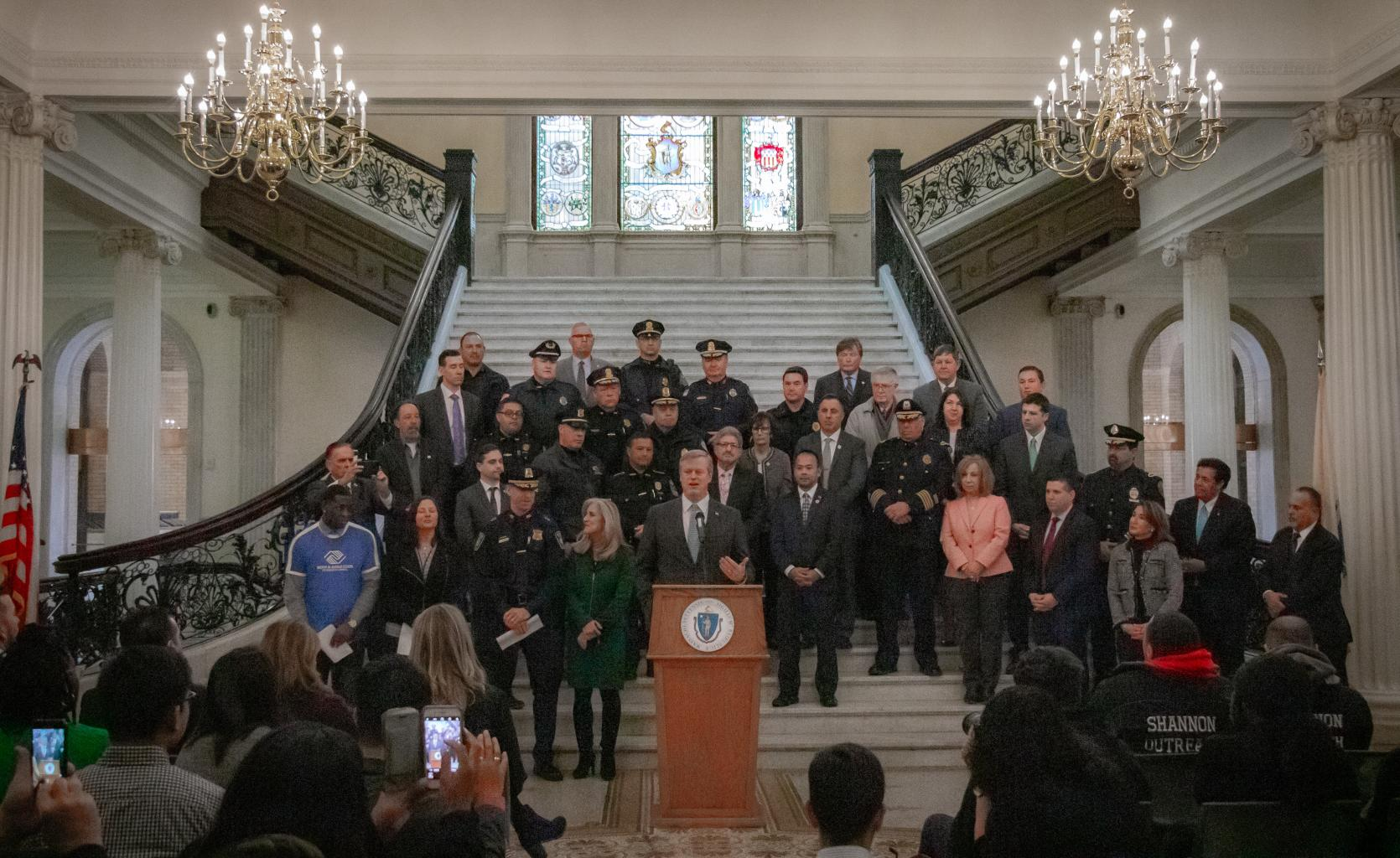 Governor Charlie Baker announces 2018 Shannon Initiative grants.