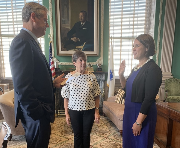 Photo of Governor Baker, Commissioner Samantha Aigner-Treworgy, and Anne-Marie Aigner