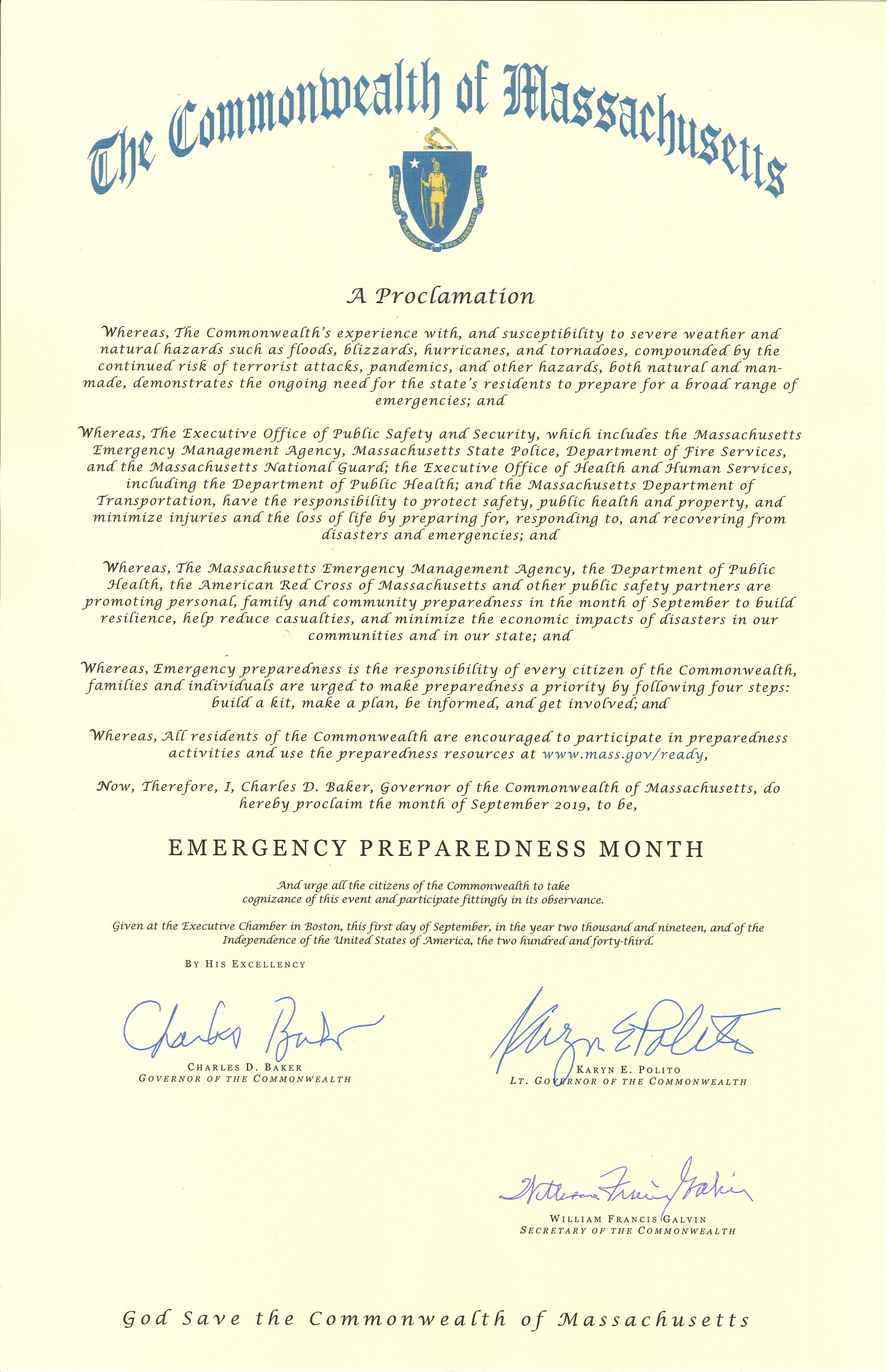 Governor Baker's official proclamation proclaiming September 2019 to be Emergency Preparedness Month