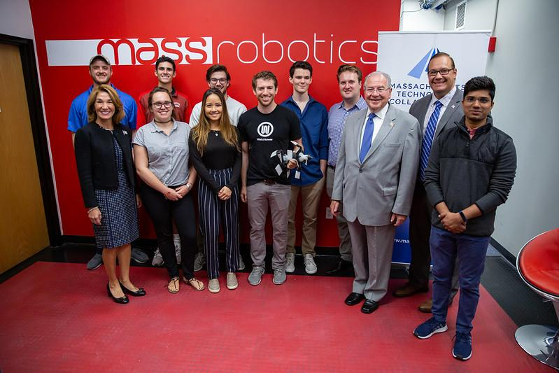 Lt. Governor Karyn Polito and House Speaker Robert DeLeo toured MassRobotics and met with executives and interns from growing Massachusetts companies that have benefitted from the MassTech Intern Partnership program.