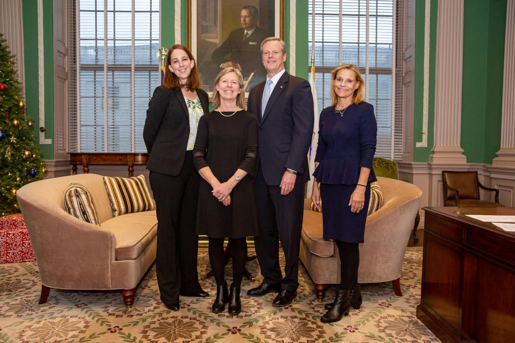Governor Baker held a swearing in ceremony for new members of the Board of Higher Education on Monday afternoon. Pictured from left to right, Ann Christensen, Patty Zillian Eppinger, Governor Charlie Baker, and Judy Pagliuca.