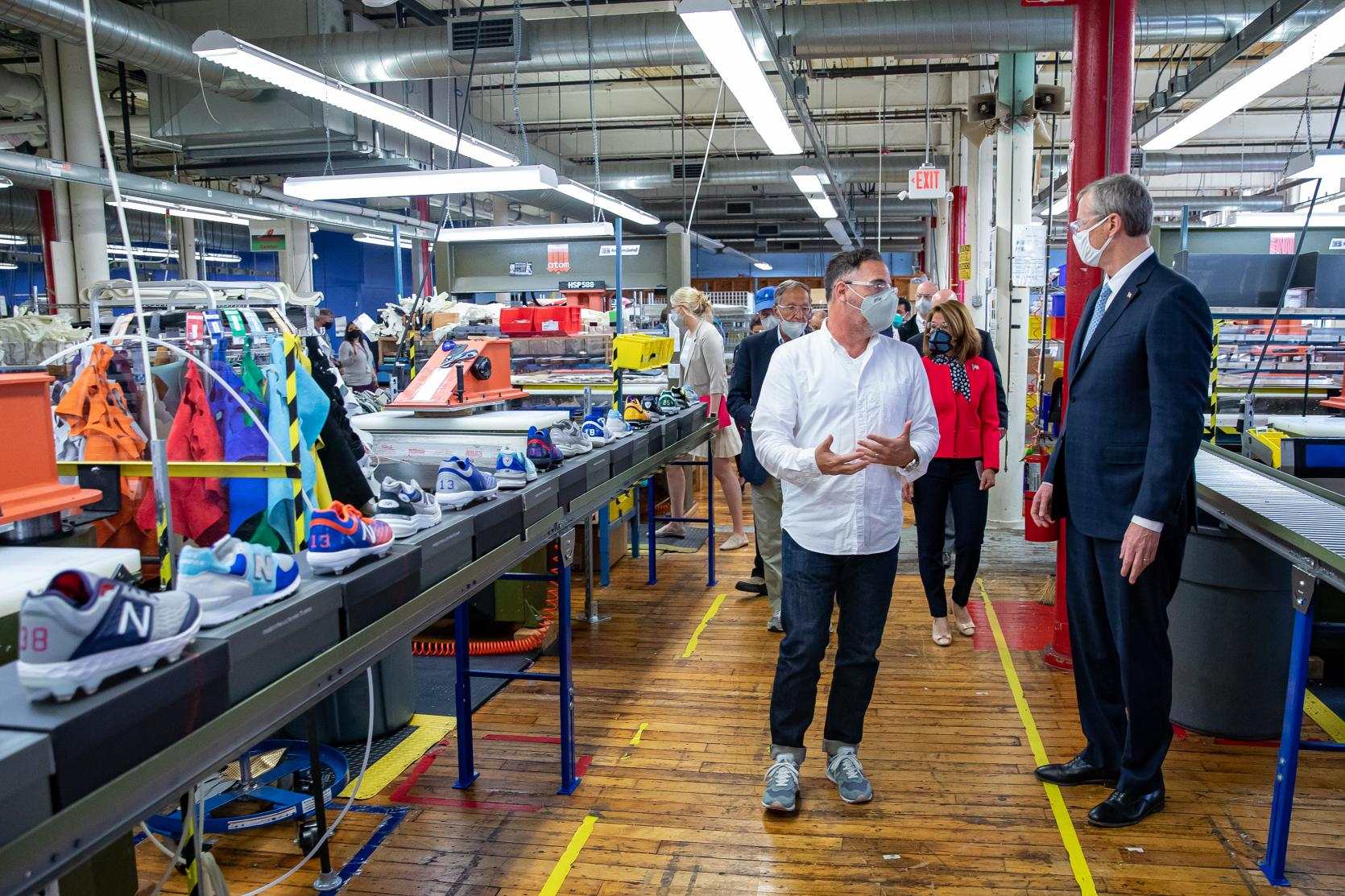 Baker-Polito Administration Visits Lawrence to Tour New Balance's PPE Production Line