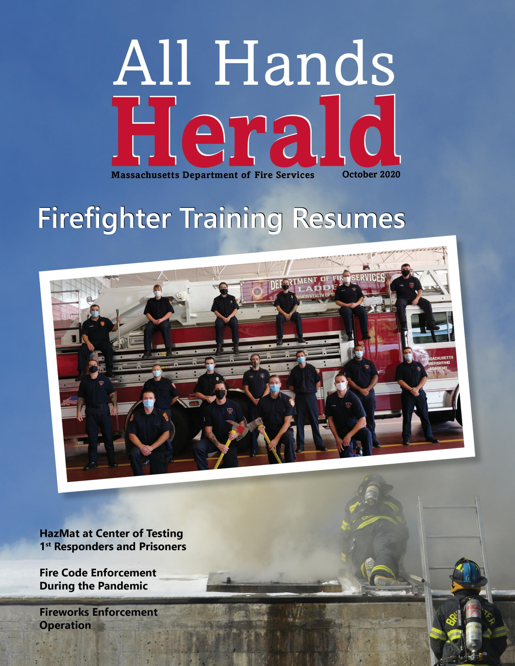 Cover of the October 2020 All Hands Herald featuring graduation picture of recruit class.