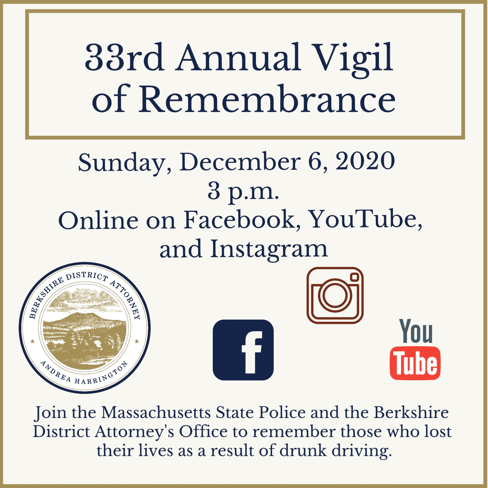 Berkshire DA's Office Holds Virtual Ceremony To Remember and Honor Those Who Lost Their Lives in Drunk Driving Crashes