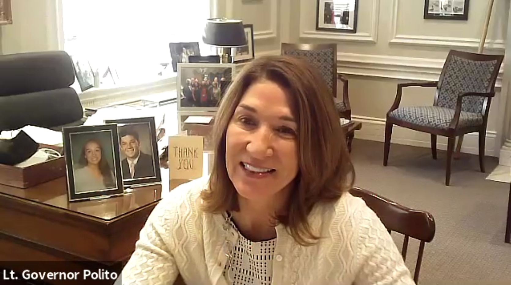 Lt. Governor Polito smiling in office