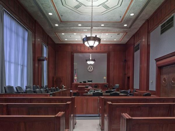 The inside of a courtroom.
