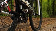 A person riding a mountain bike along trails.