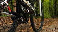 A person riding a mountain bike through wooded trails.