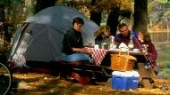 A family enjoys a picnic lunch by their campsite.