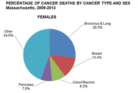 Pie chart of the percentage of cancer deaths by cancer type in females in Massachusetts, 2009-2013