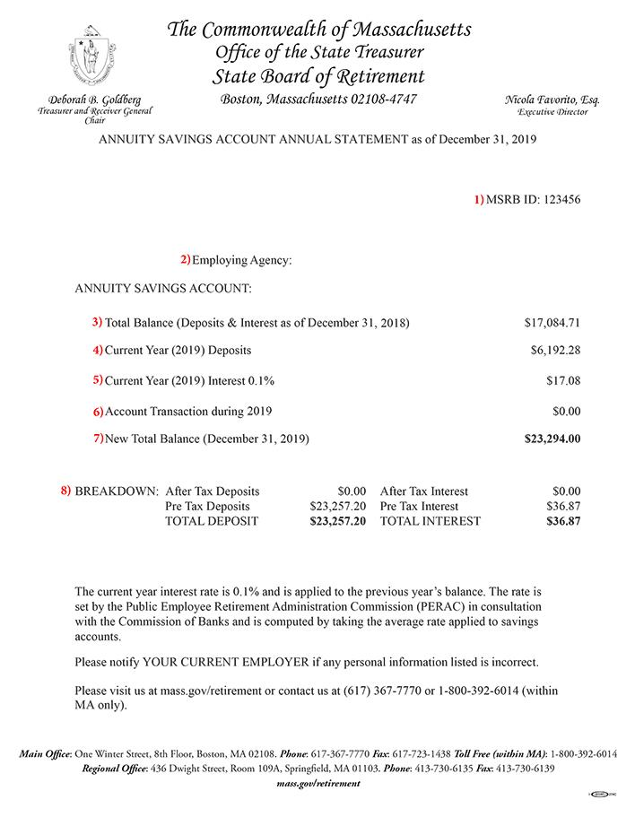 2019 MSERS Annuity Savings Account Annual Statement Sample