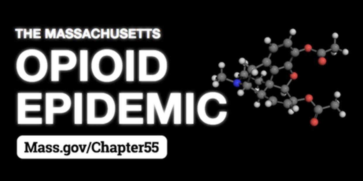 Image of atoms and molecules with text 'The Massachusetts Opioid Epidemic'