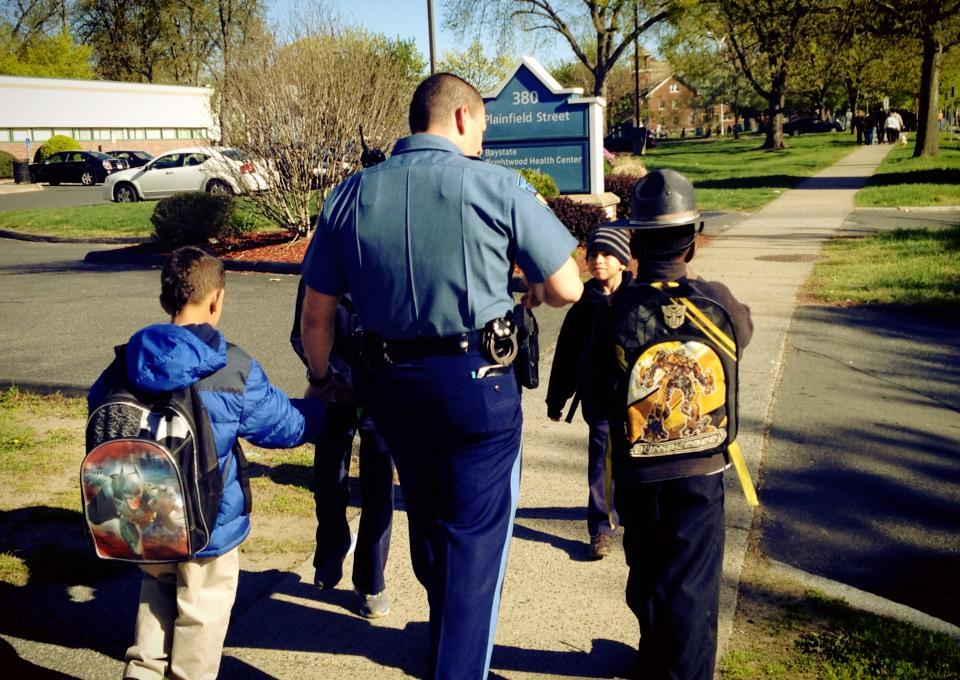 State Police office talking to children