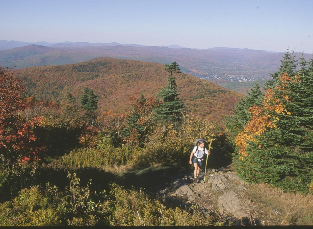 hiker and fall foliage