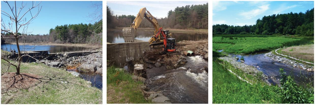 Three images - dam prior to removal, at start of removal and after removal.