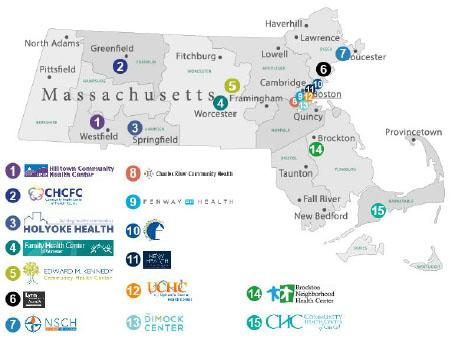 •	A map of Massachusetts displaying five regions: Metro Boston, Northeast, Southeast, Mid-Massachusetts and West. C3 has 15 FCQHCs across all five regions. Hilltown Community Health Center is near Westfield. CHCFC is near Greenfield. Holyoke Health is near Springfield. Family Health Center is near Worcester. Lynn CHC is near Lynn. Edward M Kennedy CHC is near Famingham. NSCH is near Gloucester. Charles River Community Health, Fenway Health, East Boston CHC, North End Waterfront Health, Upton's Corner Health