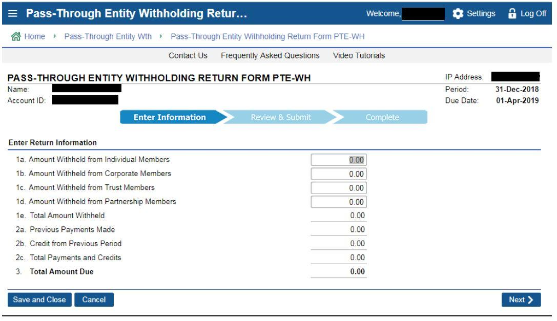 screenshot of MassTaxConnect Pass-through entity withholding form PTE WH form fields